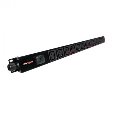 12 Way Vertical Slimline PDU - Click Lock C19 IEC Outlets