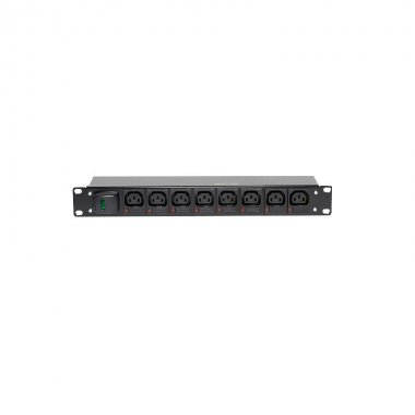 8 Way 1U Horizontal PDU - C13 IEC Individually Fused Outlets