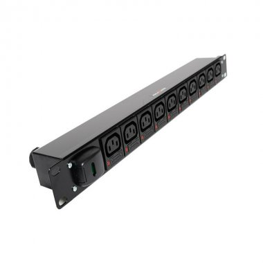 10 Way 1U Horizontal PDU - C13 IEC Individually Fused Outlets