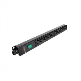 10 Way Vertical Slimline PDU - C13 IEC Individually Fused Outlets