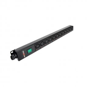 12 Way Vertical Slimline PDU - C13 IEC Individually Fused Outlets