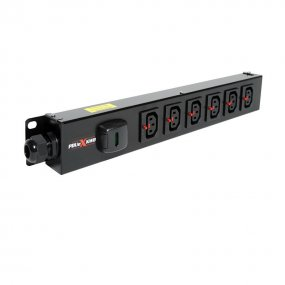 6 Way Vertical Slimline PDU - Click Lock C13 IEC Outlets
