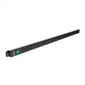 24 Way Vertical Slimline PDU - Click Lock C13 IEC Outlets