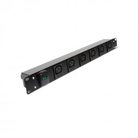 6 Way 1U Horizontal PDU - C13 IEC Individually Fused Outlets