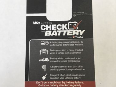 Front of card used to inform customers of battery condition
