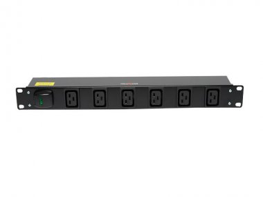 A six way horizontal PDU with covered switch